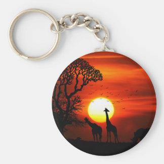 African Safari Sunset Animal Silhouettes Key Ring