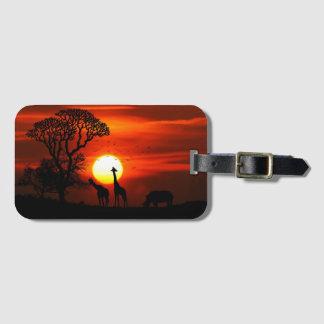 African Safari Sunset Animal Silhouettes Luggage Tag