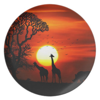 African Safari Sunset Animal Silhouettes Plate