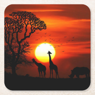 African Safari Sunset Animal Silhouettes Square Paper Coaster