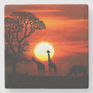 African Safari Sunset Animal Silhouettes Stone Coaster