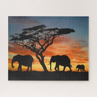 African Safari Sunset Elephant Silhouette Art Jigsaw Puzzle