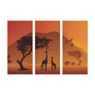african safari three panel wrapped canvas gallery wrapped canvas