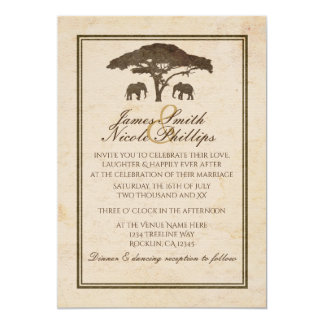 African Safari Two Elephant Vintage Wedding Card