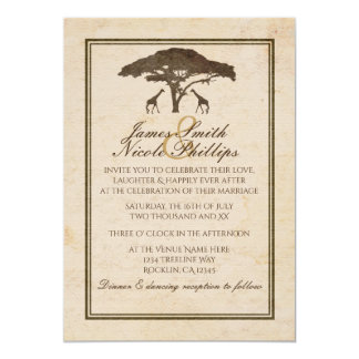 African Safari Two Giraffes Vintage Wedding Card