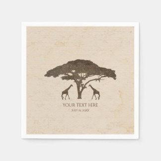 African Safari Two Giraffes Vintage Wedding Disposable Napkin