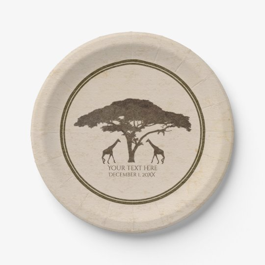 African Safari Two Giraffes Vintage Wedding Paper Plate