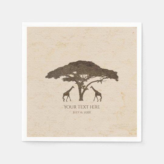 African Safari Two Giraffes Vintage Wedding Paper Serviettes