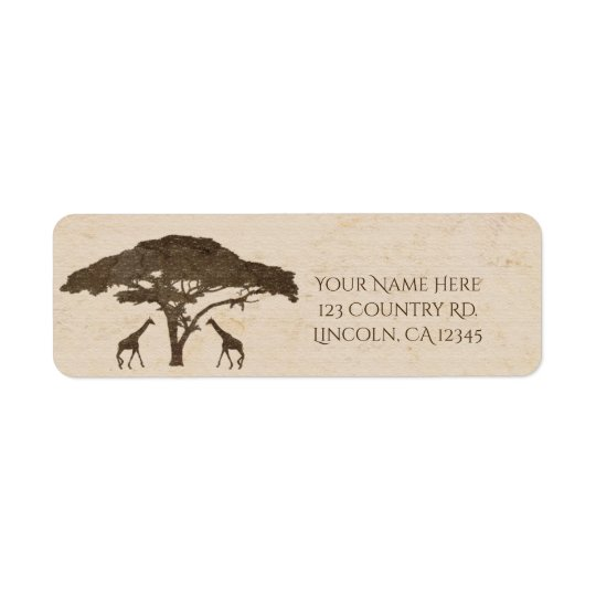 African Safari Two Giraffes Vintage Wedding Return Address Label