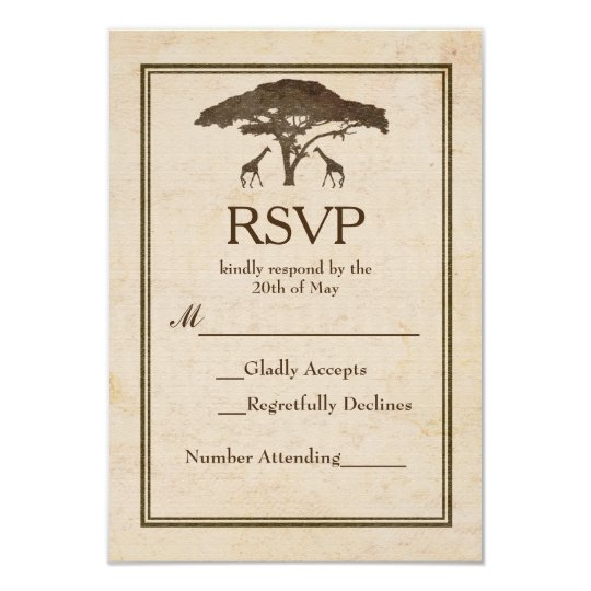 African Safari Two Giraffes Vintage Wedding RSVP Card