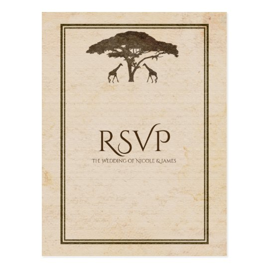 African Safari Two Giraffes Vintage Wedding RSVP Postcard