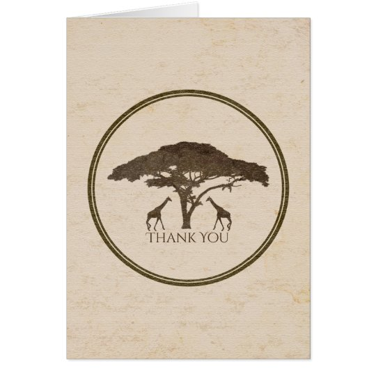 African Safari Two Giraffes Wedding Thank You Card