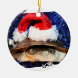 African Sideneck Turtle wearing a santa hat Christmas Tree Ornament