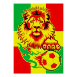African Soccer Lion Poster