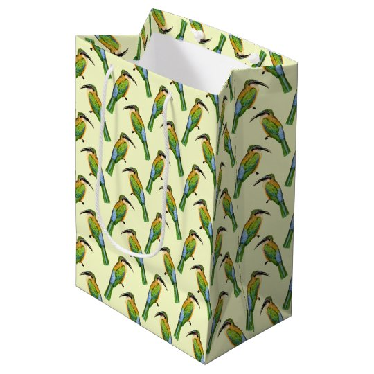 African Somali Bee Eater Vintage Bird Pattern Medium Gift Bag