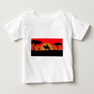 African Somali sunset warrior on horse Baby T-Shirt