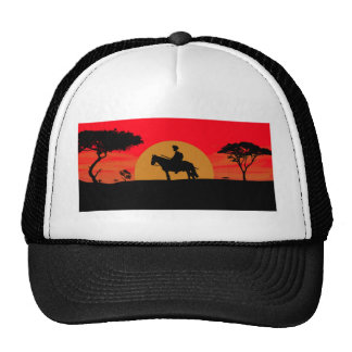 African Somali sunset warrior on horse Cap