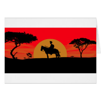 African Somali sunset warrior on horse Card
