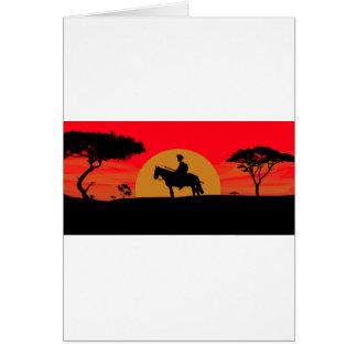 African Somali sunset warrior on horse Card