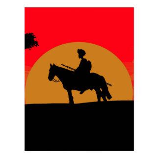 African Somali sunset warrior on horse Postcard