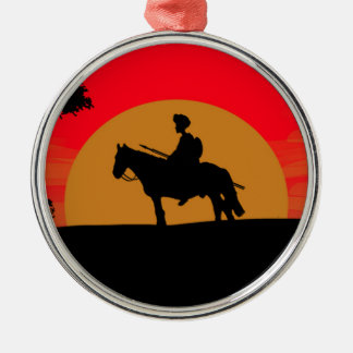 African Somali sunset warrior on horse Silver-Colored Round Decoration