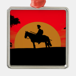 African Somali sunset warrior on horse Silver-Colored Square Decoration