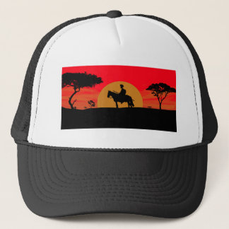 African Somali sunset warrior on horse Trucker Hat