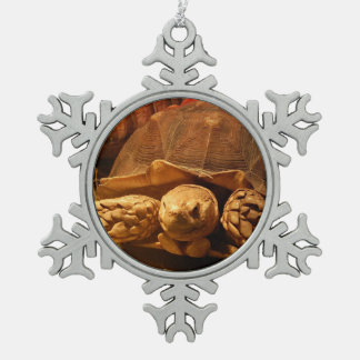 African Spurred Tortoise Snowflake Pewter Christmas Ornament
