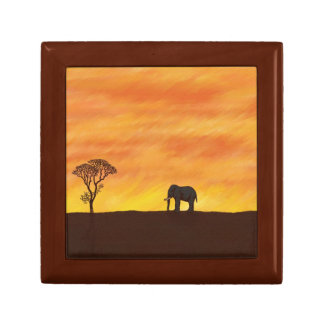 African Sunset with Elephant Naive Digital Art Gift Box