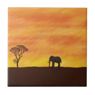 African Sunset with Elephant Naive Digital Art Small Square Tile