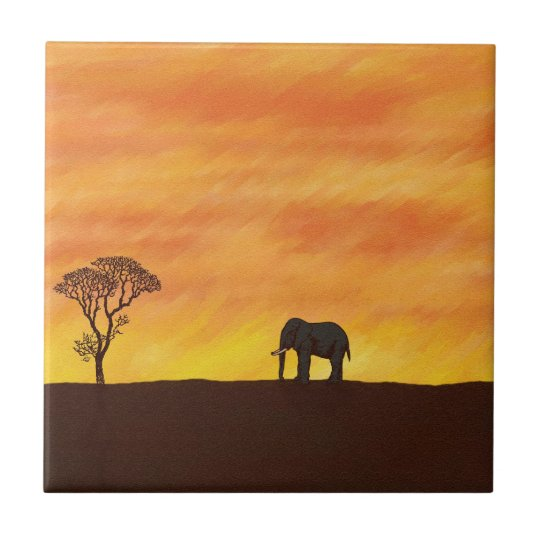 African Sunset with Elephant Naive Digital Art Small
