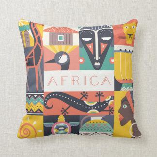 African Symbolic Art Collage Cushion
