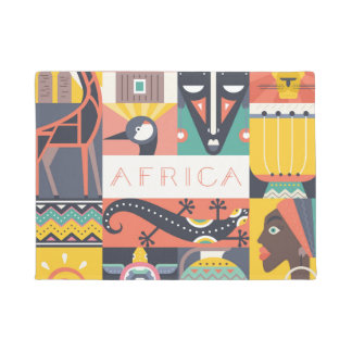 African Symbolic Art Collage Doormat