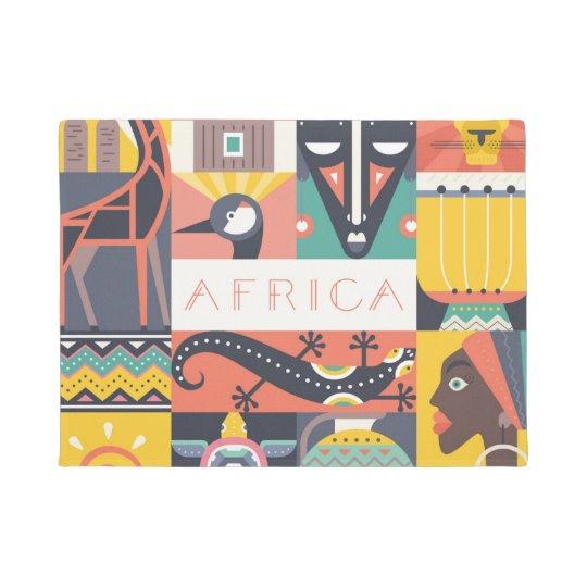 African Symbolic Art Collage Doormat