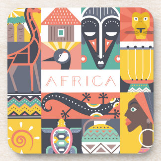 African Symbolic Art Collage Drink Coaster