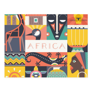 African Symbolic Art Collage Postcard