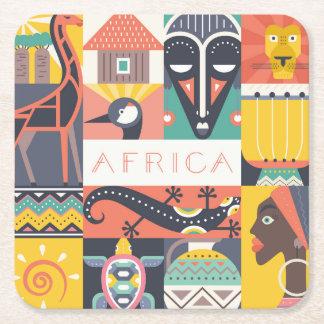 African Symbolic Art Collage Square Paper Coaster