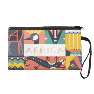 African Symbolic Art Collage Wristlets