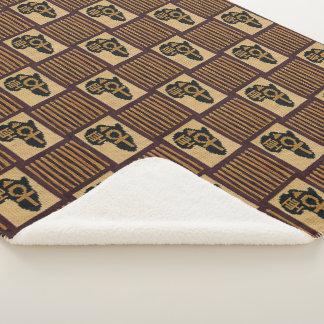 African Symbols Brown Fringes Unique Crochet Print Sherpa Blanket