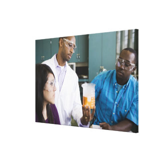 African teacher and students watching experiment canvas print