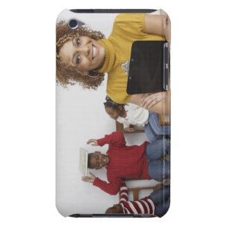 African teacher holding clipboard in front of barely there iPod cover