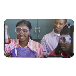 African teenage girl examining experiment in Case-Mate iPod touch case