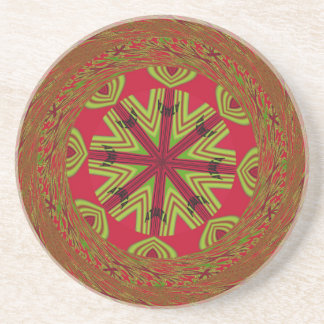 African Traditional Design Sandstone Coaster