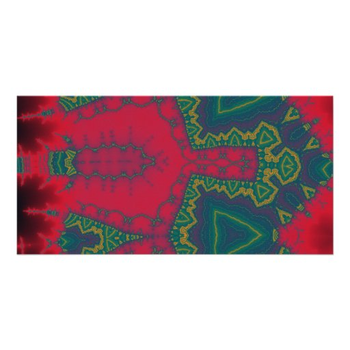 African Triangles, Tribal Fractal - Green and Red Photo Card