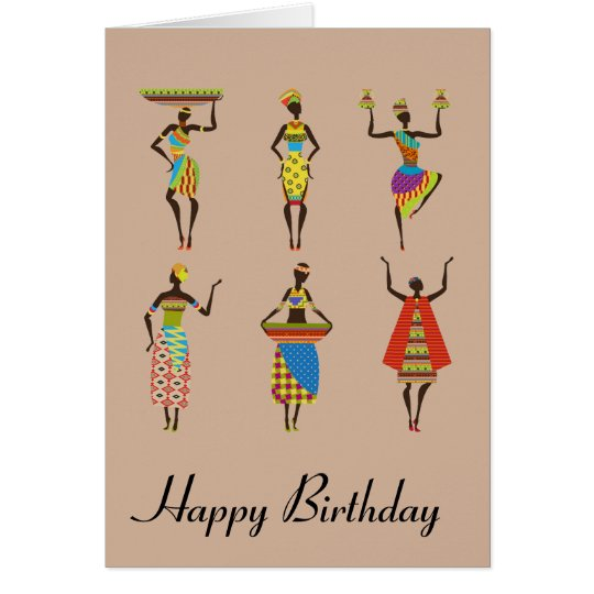 African Tribal art birthday ethnic fashion Card
