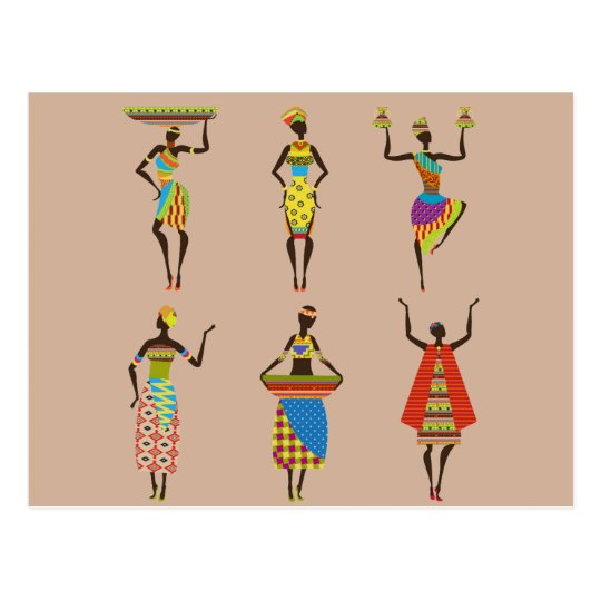 African Tribal art ladies colourful ethnic fashion Postcard