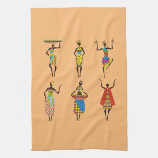 African Tribal art ladies colourful ethnic fashion Tea Towel