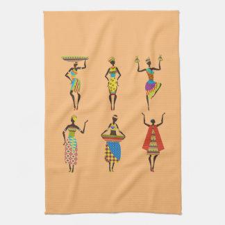 African Tribal art ladies colourful ethnic fashion Tea Towels