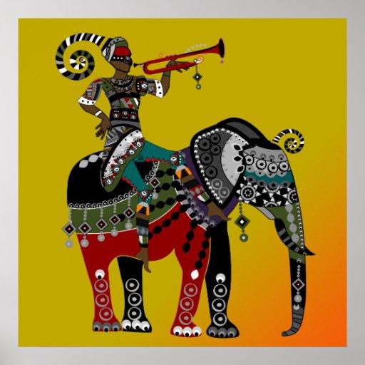 african tribal art musician riding elephant poster