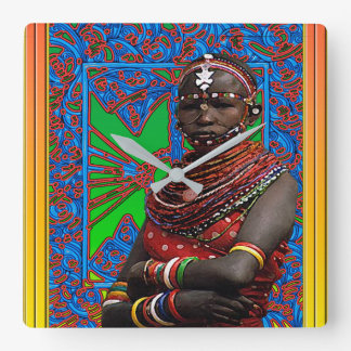 African Tribal Festival Square Wall Clock